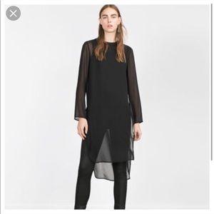 Women's Zara long sleeve long shirt sz L B00